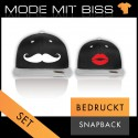 Bedrucktes Bicolor Snapback Set Moustache Mr & Mrs