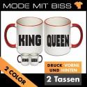 Tassen Set King & Queen Blockschrift