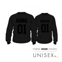 Partner Pulli Set KING & QUEEN Block mit Wunschnummer