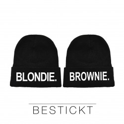 "NEU! Besticktes Partner Mützen Set ""Blondie & Brownie"""