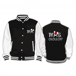 Partner Set Collage Jacke Mr. Mrs. mit Wunschtext