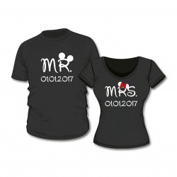 T-Shirt Set Mr. & Mrs. mit Wunschdatum