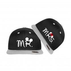Bedruckte Bicolor Snapback Set Mr Mrs