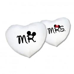 Herz Kissenbezug Set Mr. & Mrs. mit oder ohne Füllung