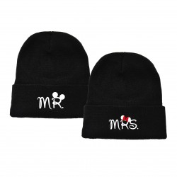 "NEU! Besticktes Partner Mützen Set ""MR & MRS"""