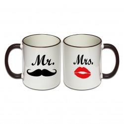 Tassen Set Moustache Mr. & Mrs.