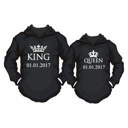 Partner Hoodie Set King. & Queen. mit Wunschdatum
