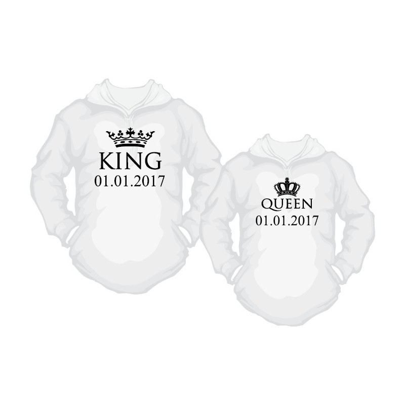 Hoodie Wunschdatum Set Partner Kingamp; QueenMit f6yYbI7gvm