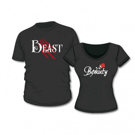 T-Shirt Set Beauty & Beast mit Wunschdatum