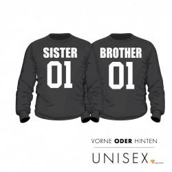"""Partner Pulli Set """"Brother and Sister"""" für Sie und Ihn"""