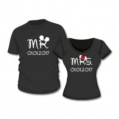 T-Shirt Set Mr. & Mrs. mit Wunschdatum