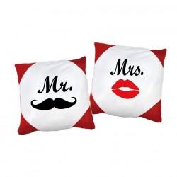 Kissen Set Moustache Mr. & Mrs. mit oder ohne Füllung