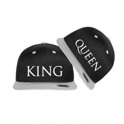 Bedruckte Bicolor Snapback Set King & Queen