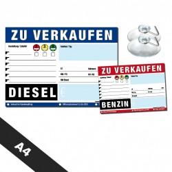 KFZ Verkaufsschilder A4 + Saugnäpfe